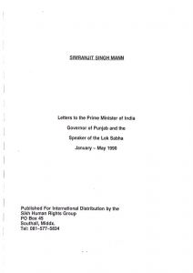 Simranjit Singh Mann Letters to India_January - May 1990