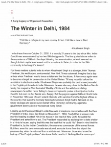 The Winter in Delhi 1984